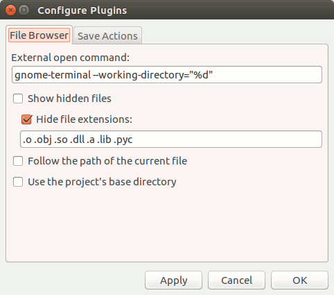 In Geany, if you go to Edit and then select Plugin Preferences, you should see a field titled External Open Command.